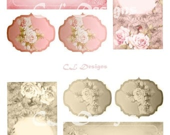 Earring Cards Vintage Style Floral Instant DIGITAL Download Collage Chic Printable 300dpi Gifts Tags Full Standard Paper Size Sheet