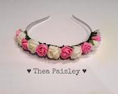 Flower Crown : Patel Pink and White Rose / Pastel goth, Pastel grunge