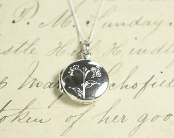 Language of Flowers - Forget Me Not - True Love Engraved Sterling Silver Locket