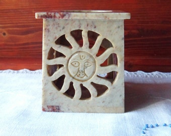 Soapstone Candle Holder from India, Incense Burner with Sun and Stars