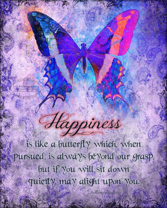 Spiritual Butterfly Quotes: Items Similar To HAPPINESS IS Inspirational Butterfly Art