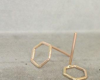 Small Hexagon Studs, Cute Geometric Earrings 14k Gold fill