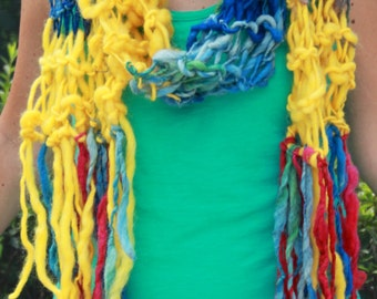 Hand Knit Long Scarf,  in bright Rainbow Colors of Blue, Yellow plus many more, in Handspun Hand Dyed Super Soft Bulky Yarn