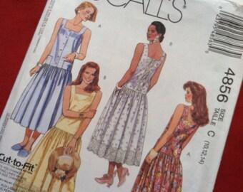 McCall's 4856 dress pattern uncut. Sizes 10,12,14