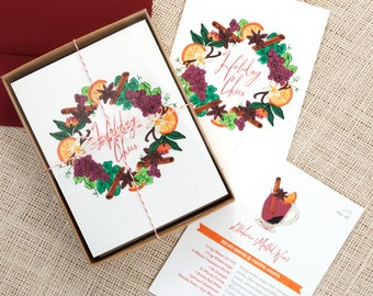 Festive Recipe Holiday Cards : Glühwein (Mulled Wine) Pack of 8