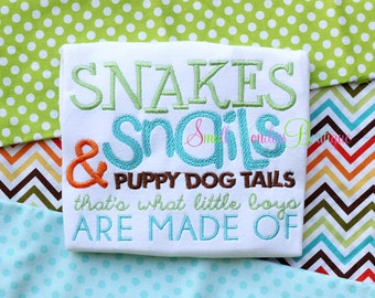 Snakes and Snails Embroidered Shirt -Snakes and Snails - Little Boys Are Made Of - Boys Shirt - Puppy Dog Tails
