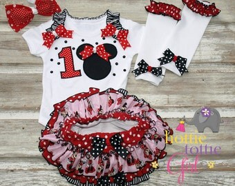 Minnie Mouse Inspired Ruffle Bloomer SET Mickey Mouse Disney Inspired Theme Birthday Princess Party Baby Toddler Ruffle Diaper Cover Pageant
