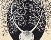 Skull Island Drawing trees OOAK  on foamboard