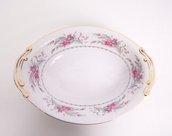 Vintage Royal Embassy China Oval Serving Bowl Saratoga Made in Japan Pink and Gray Floral Design