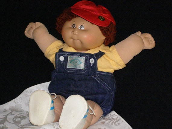 Vintage Cabbage Patch Kid Little Boy 1985 Overalls Red Cap