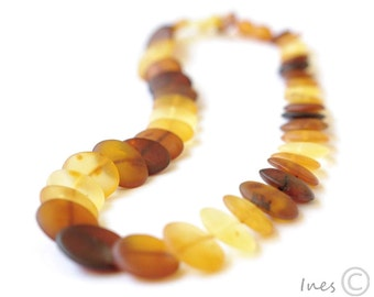 RESERVED Unique Unpolished Baltic Amber Necklace. Made of Tablet Shape Amber Beads