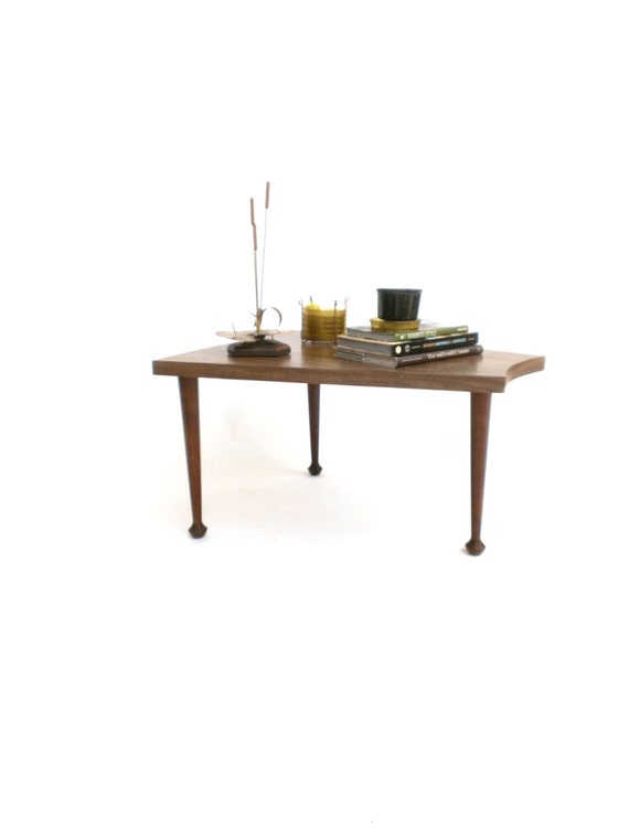 Wedge Side Table Pie Shape End Table Tripod Table Mid