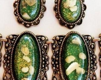 Chunky Green Confetti Lucite Bracelet Earring Set