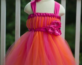 Tangerine Orange and Pink Empire Waist Baby Doll Tutu Dress with Triple Satin Flower Front and Matching Satin Flower Clip or Headband