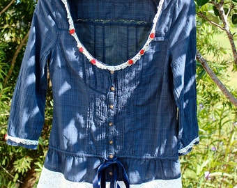 Romantic Boho Rustic Prairie Top Indigo WithVintage Crochet Ribbon Roses Prairie Inspired