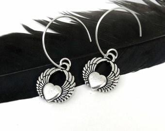 Winged Heart Earrings - Silver Heart Earrings, Sterling Silver Hoops- Heart Jewelry