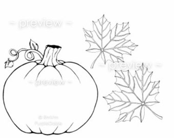 printable color page digital coloring sheet childrens colour zen doodle page line drawing pumpkin autumn leaves - Childrens Pictures To Colour In