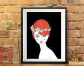 art print -  red hair woman - portrait girl - girls portrait, cute print - wall art print,illustration, fine art prints