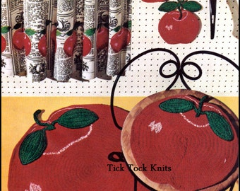 No.236 Crochet Pattern PDF Vintage - Juicy Apple Kitchen Set - Rug, Chair Cushion, Pot Holders - Retro Crochet Pattern - Instant Download