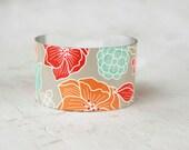 Floral Cuff Bracelet - Vintage Flowers Cuff Bracelet - Cuff - Orange Red Mint  - Jewelry - Large Cuff Bracelet by Zoe Madison (201)