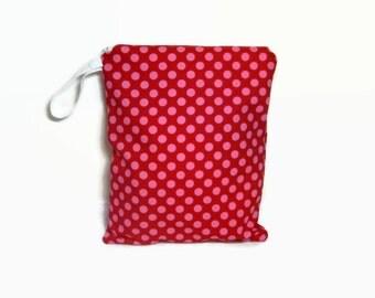 Red pink dots wet bag waterproof cloth diaper zipper medium swim bathing suit pool beach girl boy polka dots