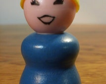 Vintage 1970's Fisher Price Little People Toy Figure - Blue Woman w/ Blonde Ponytail - Wooden Body / Plastic Head