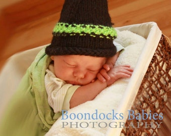 Halloween Costume witches costume baby hat Newborn photo prop halloween costume baby hat Black and green
