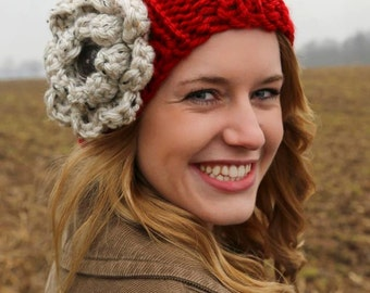 Bulky knit hat with extra large flower- Red hat/ cream flower