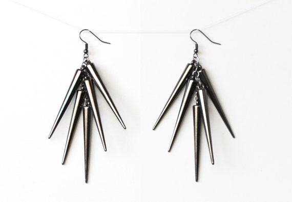 Gunmetal Dangling Spike Earrings, Dangle Gunmetal Earrings