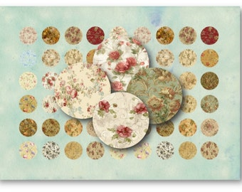 Digital Images - Digital Collage Sheet Download - Floral 1 inch Circles -  298   for Jewelry Pendants - Instant Download Printables