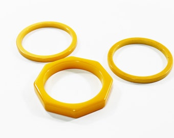 1930s bakelite bangles butterscotch cream corn yellow chunky octagon and flat sided stack set trio