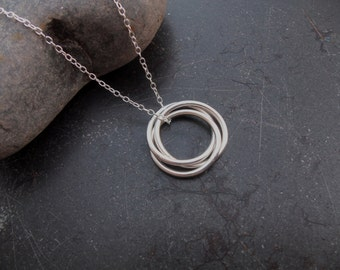 Sterling silver jewelry,  Three ring eternity infinity necklace