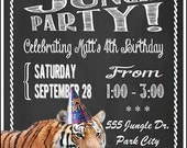 "Jungle Party Invitation -- print at home -- 5x7"" -- gender neutral"