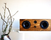 Bluetooth Wood Speaker System || Handmade From Reclaimed Pine || Weston Box | Dark Walnut Stain || FREE SHIPPING - SalvageAudio