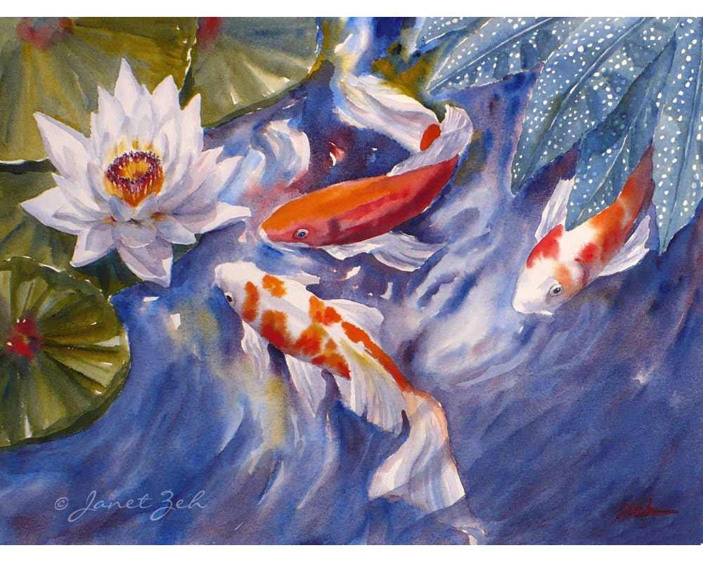 Koi fish original watercolor painting 11x14 waterlily pond art for Koi fish water