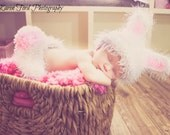 White and Pink Bunny Rabbit Outfit Photography Prop Fuzzy Bunny Easter Set For Newborn 0-3 Months