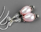 Pink Pearl Earrings, Bridesmaid Earrings, Sterling Silver Pearl Drop Earrings, Dangle Earrings