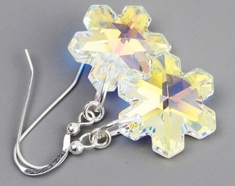 Crystal  Snowflake Earrings - Aurora Borealis Swarovski Crystal  Drop Earrings - Swarovski Snowflake Jewelry