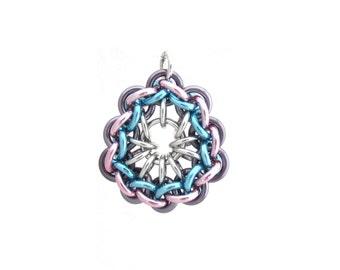 Jump Ring Pendant, Chain Maille Pendant, Pastel Jewelry, Multicolor Pendant, Pastel Chain Maille Jewelry
