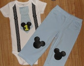 Boys First Birthday Baby Mickey Mouse Tie and Suspenders Bodysuit and Pants Outfit Set Cake Smash Outfit SIZE 18 Months Set