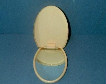 Edwardian Compact Mirror Vintage Ladies Cream Celluloid Antique Accessories