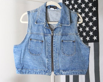 Cropped 90s Blue Denim Unisex Jean Vest
