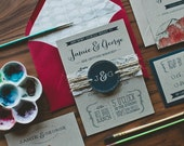 Kraft and Lace Wedding Invitation: Rustic and Whimsical Water Color Barn