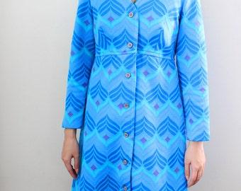 Vintage 1960s Mod Chevron Print Coat Long Sleeve Jacket - Womens Swing Coat - Size Small