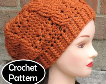 CROCHET HAT PATTERN Pdf Instant Download - Giana Cabled Beret Tam Beanie Womens Teens - Permission to Sell English Only