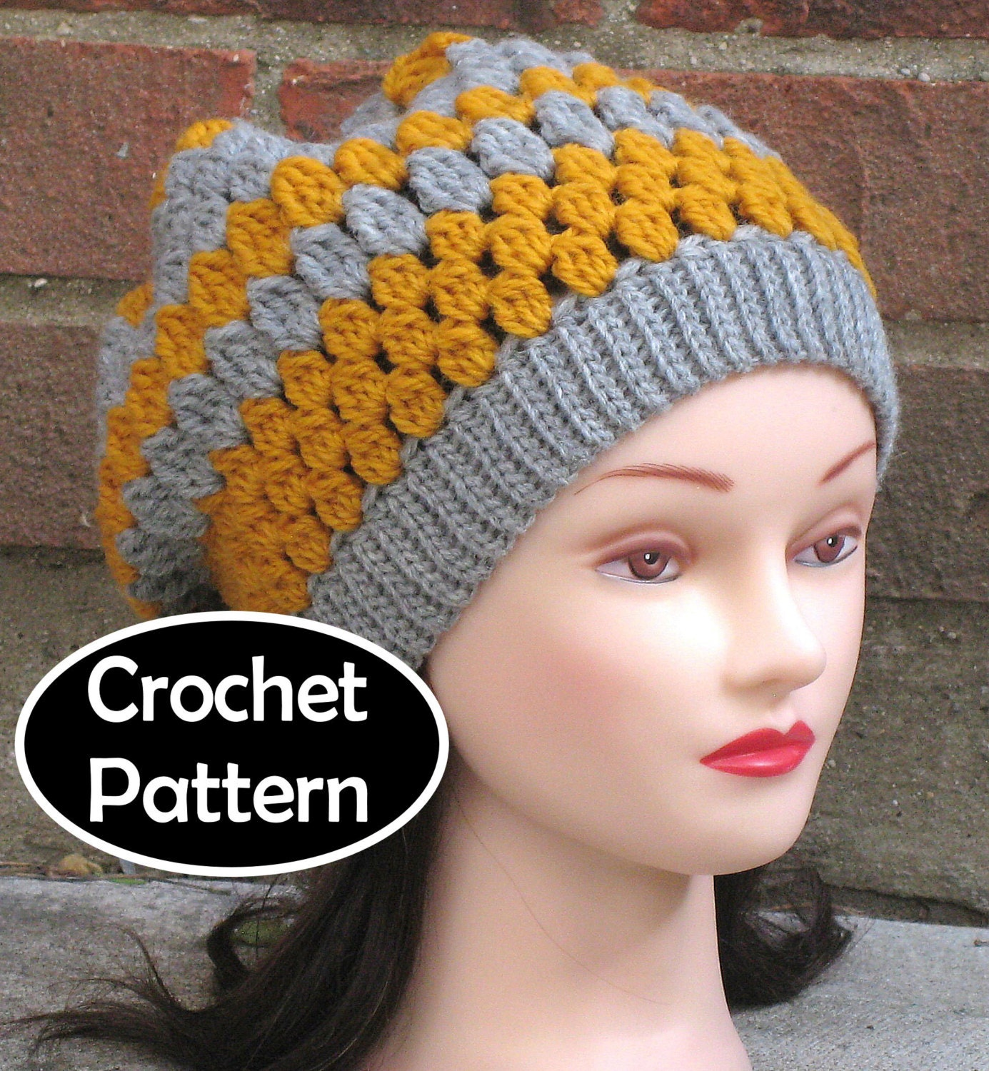 Crochet Hat Pattern Download : CROCHET HAT PATTERN Instant Download Ashlyn Slouchy Beanie