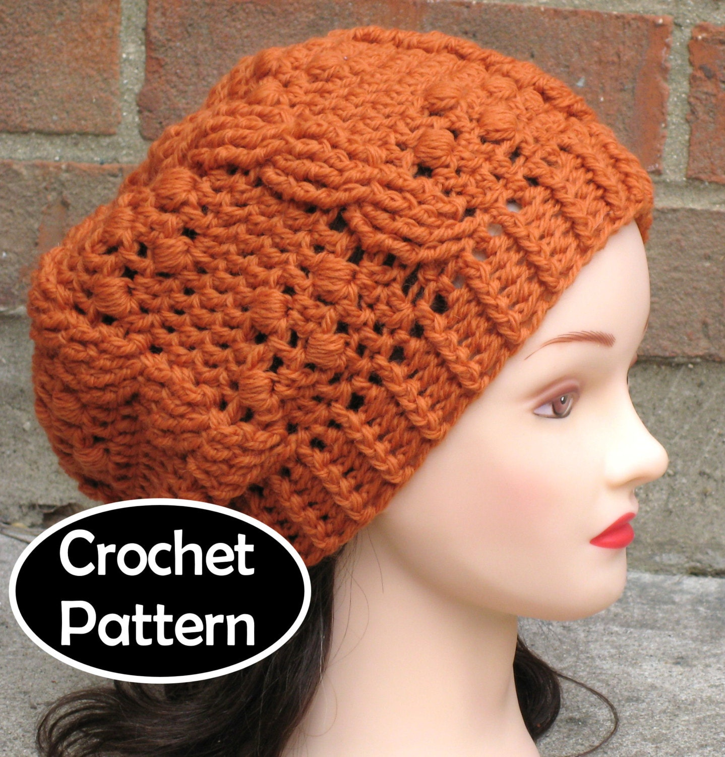 Crochet Hat Pattern Download : CROCHET HAT PATTERN Pdf Instant Download Giana Cabled Beret