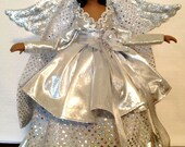 Silver Christmas Angel Tree Top African American Handcrafted OOAK Black Angel Personalized Free