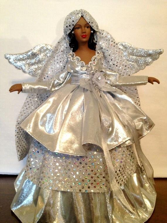Silver Christmas Angel Tree Top African By Divineangelshop