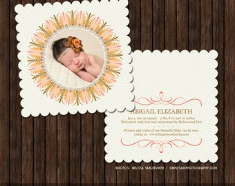 INSTANT DownloadPSD Luxe 5x5 Birth Announcement Card Template - B13
